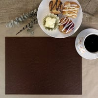 H. Risch Inc. PLACEMATDX-CHMAHOGANY Chesterfield 16 inch x 12 inch Mahogany Premium Sewn Faux Leather Rectangle Placemat