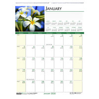 House of Doolittle 327 12 inch x 16 1/2 inch Recycled Floral Monthly January 2020 - December 2020 Wall Calendar