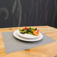 H. Risch, Inc. 12 inch x 16 inch Gray Vinyl Rectangle Placemat - 12/Pack