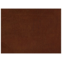 H. Risch, Inc. PLACEMATDX-LTHBROWN Tuxedo Leather 16 inch x 12 inch Customizable Brown Premium Sewn Rectangle Placemat