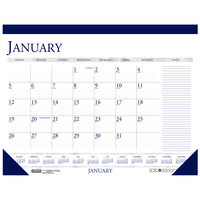 House of Doolittle 164 22 inch x 17 inch Recycled Blue / Gray Monthly January 2020 - December 2020 Desk Pad Calendar