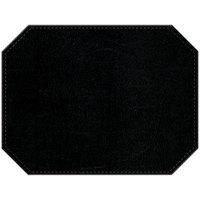 H. Risch, Inc. PLACEMATDXOCT-LTHBLACK Tuxedo Leather 16 inch x 12 inch Customizable Black Premium Sewn Octagon Placemat