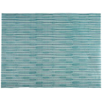H. Risch, Inc. 12 inch x 16 inch Aqua Vinyl Rectangle Placemat - 12/Pack