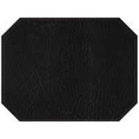 H. Risch, Inc. PLACEMATDXOCT-HARBLACK Harley 16 inch x 12 inch Customizable Black Premium Sewn Faux Leather Octagon Placemat