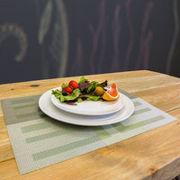 H. Risch, Inc. GA-2009 16 inch x 12 inch Multi Green / Silver Woven Vinyl Rectangle Placemat - 12/Pack
