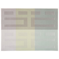 H. Risch, Inc. 12 inch x 16 inch Multi Green / Silver Vinyl Rectangle Placemat - 12/Pack