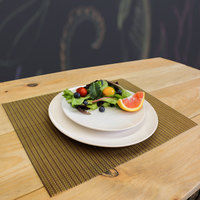 H. Risch, Inc. GA-6000 16 inch x 12 inch Maroon / Green Woven Vinyl Rectangle Placemat - 12/Pack