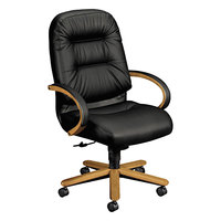 HON 2191CSR11 2190 Pillow-Soft Harvest / Black Leather Executive High-Back Chair with Arms