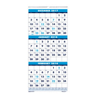 House of Doolittle 3646 8 inch x 17 inch Recycled Blue / White Monthly December 2018 - January 2020 Wall Calendar