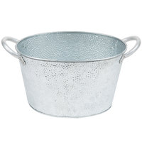 Tablecraft GT159 Galvanized Steel Oval Beverage Tub - 15 inch x 9 inch x 7 1/2 inch