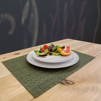 H. Risch, Inc. 12 inch x 16 inch Green Vinyl Rectangle Placemat - 12/Pack