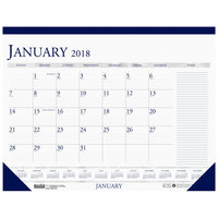 House of Doolittle 1646 18 1/2 inch x 13 inch Recycled Blue / Gray Monthly January 2019 - December 2019 Desk Pad Calendar