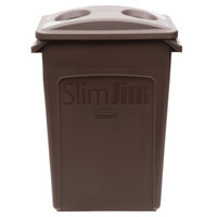 Rubbermaid Slim Jim 23 Gallon Brown Trash Can with 2 Hole Lid