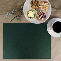 H. Risch Inc. PLACEMATDX-CHGREEN Chesterfield 16 inch x 12 inch Green Premium Sewn Faux Leather Rectangle Placemat