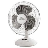 Lakewood LDF1210BWM 12 inch White 3-Speed Oscillating Desk Fan