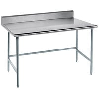 Advance Tabco TKAG-242 24 inch x 24 inch 16 Gauge Open Base Stainless Steel Commercial Work Table with 5 inch Backsplash