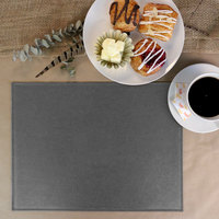 H. Risch, Inc. PLACEMATDX-TAMGRAY Tamarac 16 inch x 12 inch Customizable Gray Premium Sewn Faux Leather Rectangle Placemat