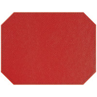 H. Risch, Inc. PLACEMATDXOCT-RIORED Rio 16 inch x 12 inch Customizable Red Premium Sewn Faux Leather Octagon Placemat