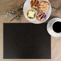 H. Risch, Inc. PLACEMATDX-TAMBLACK Tamarac 16 inch x 12 inch Customizable Black Premium Sewn Faux Leather Rectangle Placemat