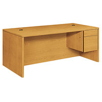 HON 10585RCC 10500 Series 72 inch x 36 inch x 29 1/2 inch Harvest L or U Right 3/4 Height Pedestal Desk