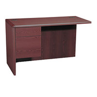 HON 10716LNN 10700 Series 48 inch x 24 inch x 29 1/2 inch Mahogany L Left 3/4 Height Pedestal Return
