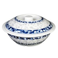 Thunder Group 8011DL Blue Dragon 80 oz. Round Melamine Serving Bowl with Lid - 11 inch