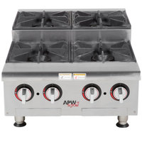 APW Wyott HHPS-424 Liquid Propane Heavy-Duty 4 Burner Step-Up Countertop 24 inch Range / Hot Plate - 120,000 BTU