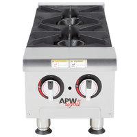 APW Wyott HHP-212 Liquid Propane Heavy-Duty 2 Burner Countertop 12 inch Range / Hot Plate - 60,000 BTU