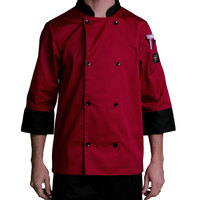 Chef Revival J134TM-M Cool Crew Fresh Size 42 (M) Tomato Red Customizable Chef Jacket with 3/4 Sleeves - Poly-Cotton