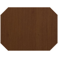 H. Risch, Inc. Sherwood 12 inch x 16 inch Customizable Walnut Premium Sewn Octagon Placemat