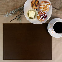 H. Risch, Inc. PLACEMATDX-TAMBROWN Tamarac 16 inch x 12 inch Customizable Brown Premium Sewn Faux Leather Rectangle Placemat