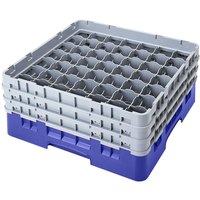 Cambro 49S638168 Blue Camrack Customizable 49 Compartment 6 7/8 inch Glass Rack