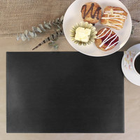 H. Risch, Inc. PLACEMATRECT16X12BLACK 16 inch x 12 inch Customizable Black Vinyl Rectangle Placemat