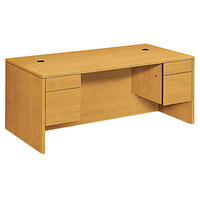 HON 10593CC 10500 Series 72 inch x 36 inch x 29 1/2 inch Harvest 3/4 Height Double Pedestal Desk