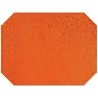 H. Risch, Inc. PLACEMATDXOCT-RIOORANGE Rio 16 inch x 12 inch Customizable Orange Premium Sewn Faux Leather Octagon Placemat