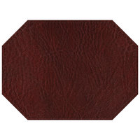 H. Risch, Inc. 11 inch x 15 inch Wine Hardboard / Faux Leather Octagon Placemat