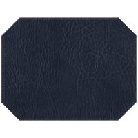 H. Risch, Inc. 13 inch x 17 inch Customizable Navy Hardboard / Faux Leather Octagon Placemat