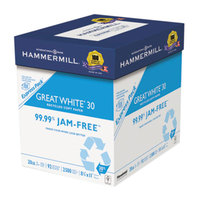 Hammermill 67780 Great White 8 1/2 inch x 11 inch White Case of 20# 30% Recycled Copy Paper - 2500/Sheets