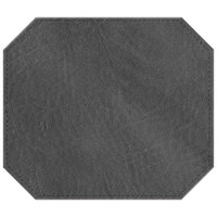 H. Risch, Inc. 13 inch x 15 inch Charcoal Hardboard / Faux Leather Octagon Placemat