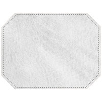 H. Risch, Inc. 13 inch x 17 inch Customizable White Hardboard / Faux Leather Octagon Placemat