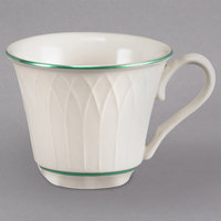 Homer Laughlin 1430-0327 Green Jade Gothic Off White 3.25 oz. China Cup - 36/Case