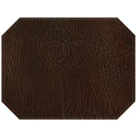 H. Risch, Inc. 13 inch x 17 inch Customizable Brown Hardboard / Faux Leather Octagon Placemat