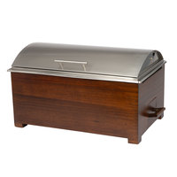Choice Supreme 8.3 Qt. Full Size Chafer with Mahogany Wood Stand - 23 inch x 14 1/2 inch x 13 1/2 inch