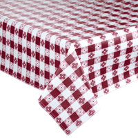 52 inch x 52 inch Burgundy-Checkered Vinyl Table Cover with Flannel Back