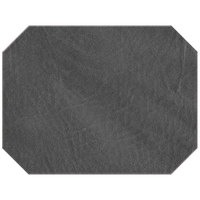 H. Risch, Inc. 13 inch x 17 inch Customizable Charcoal Hardboard / Faux Leather Octagon Placemat