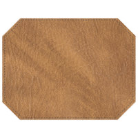 H. Risch, Inc. 13 inch x 17 inch Customizable Nugget Hardboard / Faux Leather Octagon Placemat