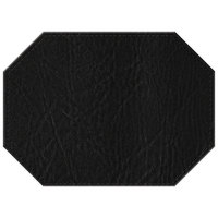 H. Risch, Inc. 11 inch x 15 inch Black Hardboard / Faux Leather Octagon Placemat