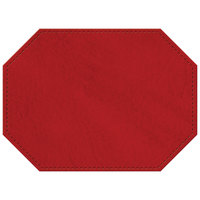 H. Risch, Inc. 11 inch x 15 inch Red Hardboard / Faux Leather Octagon Placemat