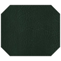 H. Risch, Inc. 13 inch x 15 inch Green Hardboard / Faux Leather Octagon Placemat