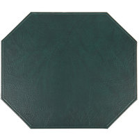 H. Risch, Inc. TABLEMATOCT15X13GREEN 15 inch x 13 inch Customizable Green Hardboard / Faux Leather Octagon Placemat